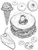 Esboços da sobremesa Imagem de Stock