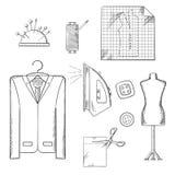 Esboços das ferramentas e dos acessórios do alfaiate ajustados Fotografia de Stock Royalty Free