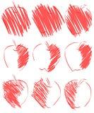 Esboços das maçãs vermelhas isoladas Imagem de Stock