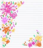 Esboços de desenhos coloridos das folhas, das flores e da borboleta Imagens de Stock Royalty Free