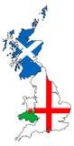 Esboços de Inglaterra Escócia Gales com as bandeiras cobertas Imagem de Stock Royalty Free