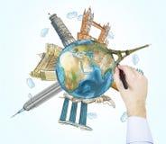 Esboços de um desenho da mão dos lugares os mais famosos no mundo Um conceito do turismo e de sightseeing Luz - fundo azul Eleme Imagens de Stock