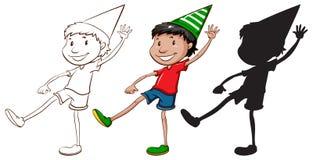 Esboços de um menino feliz em três cores Fotografia de Stock