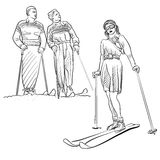 Esboços do esporte de inverno dos povos da forma do vintage Imagens de Stock