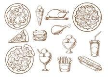 Esboços do fast food, da bebida e das sobremesas Imagens de Stock Royalty Free
