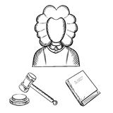 Esboços do juiz, do martelo e do livro de lei Imagens de Stock Royalty Free