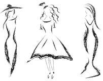 Esboços do lápis das mulheres Imagem de Stock Royalty Free