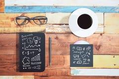 Esboços do negócio em objetos Foto de Stock Royalty Free