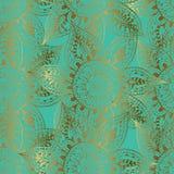 Esboços do ouro das flores no fundo de turquesa Imagens de Stock