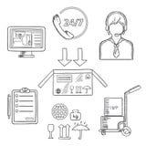 Esboços dos ícones da logística, do transporte e da entrega Fotografia de Stock