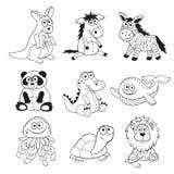 Esboços dos animais dos desenhos animados Fotos de Stock
