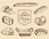 Esboços dos bens e dos doces de padaria ajustados Vector ilustrações tiradas mão do pão para o café, o menu do restaurante, o log Fotos de Stock Royalty Free