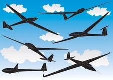 Esboços dos planadores do vetor ajustados Imagens de Stock
