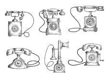 Esboços dos telefones do seletor giratório e do castiçal Imagem de Stock Royalty Free