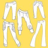 Esboços lisos do molde da roupa diferente da sarja de Nimes e das calças de brim Imagem de Stock