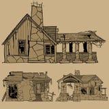 Esboços monocromáticos pintados de casas de pedra destruídas Imagens de Stock