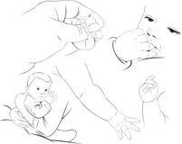 Esboços pequenos do bebê Fotografia de Stock