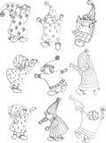 esboços pequenos mágicos dos gnomos ilustração do vetor