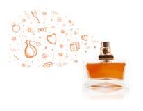 Esboços que saem da garrafa de perfume bonita Foto de Stock