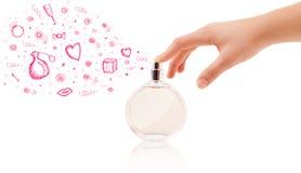 Esboços que saem da garrafa de perfume bonita Imagem de Stock