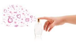 Esboços que saem da garrafa de perfume bonita Fotografia de Stock