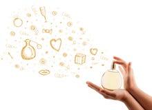 Esboços que saem da garrafa de perfume bonita Foto de Stock Royalty Free
