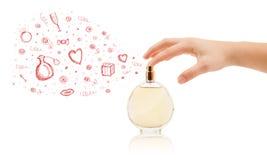 Esboços que saem da garrafa de perfume bonita Imagens de Stock Royalty Free