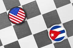 Esboços (verificadores) - EUA contra Cuba Foto de Stock