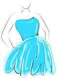 Esboçando a menina no vestido azul Fotografia de Stock