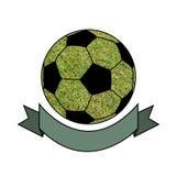 Esboce a bola de futebol no fundo da grama com cópia Foto de Stock Royalty Free