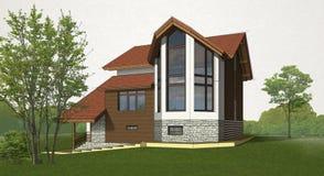 Esboce a casa do tijolo e da madeira ilustração do vetor