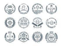 Esboce emblemas incolores da cerveja do vetor, símbolos, ícones, etiquetas do bar, coleção dos crachás Imagem de Stock Royalty Free