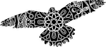 Esboce a ilustração de um pássaro de voo ornamentado com asas uplifted com um teste padrão geométrico intrincado, ilustração stock