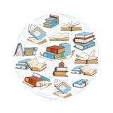 Esboce livros de desenho da garatuja, biblioteca, logotipo do vetor do clube de leitura Imagens de Stock