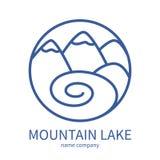 Esboce o ícone da paisagem com montanhas e sol no círculo ilustração royalty free