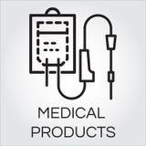 Esboce o ícone do conta-gotas intravenoso tirado no estilo do esboço ilustração do vetor