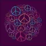 Esboce o arquivo do compostion EPS10 da fôrma do círculo dos símbolos de paz. Imagens de Stock
