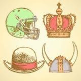 Esboce o capacete de viquingue, a coroa, o capacete de futebol e o chapéu ilustração royalty free