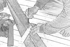 Esboce o carpinteiro masculino que trabalha com o lápis de madeira com quadrado do operador no lugar de trabalho Ferramenta do ar imagem de stock