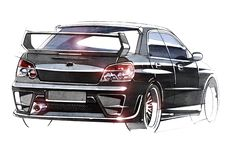 Esboce o carro urbano da juventude em um estilo desportivo com um motor de alta velocidade poderoso ilustração royalty free