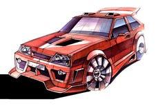 Esboce o carro urbano da juventude em um estilo desportivo com um motor de alta velocidade poderoso Foto de Stock Royalty Free