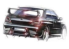 Esboce o carro urbano da juventude em um estilo desportivo com um motor de alta velocidade poderoso fotografia de stock