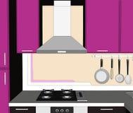 Esboce o desenho abstrato de armários, da capa do extrator da chaminé da cozinha e de dispositivos lilás e marrons ilustração royalty free