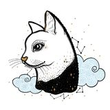 Esboce o gato gráfico da ilustração com mão místico e oculto símbolos tirados Ilustração do vetor Conceito astrológico e esotéric ilustração do vetor