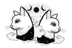 Esboce o gato gráfico da ilustração com mão místico e oculto símbolos tirados Ilustração do vetor Conceito astrológico e esotéric ilustração stock