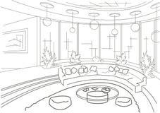 Esboce o interior de uma sala de visitas redonda com pódio Imagens de Stock Royalty Free
