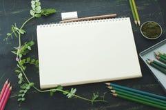 Esboce o livro, o musgo e os lápis da cor em tons verdes Fotografia de Stock Royalty Free