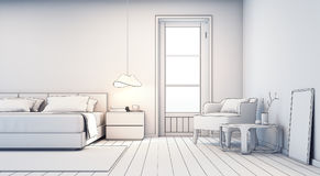 Esboce o projeto do quarto e da sala de visitas na casa moderna Imagem de Stock