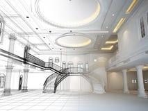 Esboce o projeto do salão interior, 3d rendem Fotografia de Stock Royalty Free