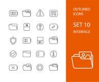 Esboce o projeto liso dos ícones finamente, linha moderna curso Fotografia de Stock Royalty Free